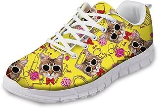HUGS IDEA Cats Printed Women's Cute Casual Running Sneakers Tennis Shoes