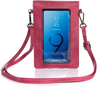 Touch Screen Purse with Clear Window Pocket Shoulder Strap, Girls Women Leather Crossbody Cell Phone Bag Wallet for Motoro...