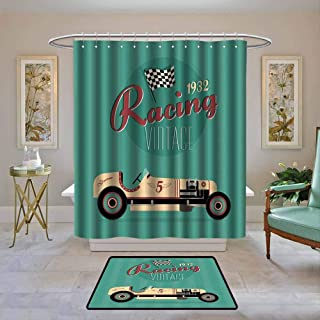Kenneth Camilla01 Shower Curtain Cars,Poster Print of a Classic Vintage Automobile Nostalgia Rally Antique Machine,Teal Ruby Cream,Water Resistant Decorative Bathroom Fabric 72