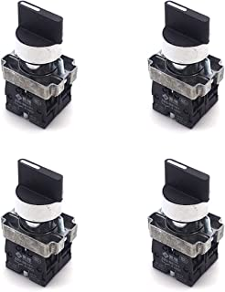 Antrader 4pcs ZB2-BE101 SPDT 2NO 4 Pin 3 Position Round Top Rotary Selector Switch AC 600V 10A