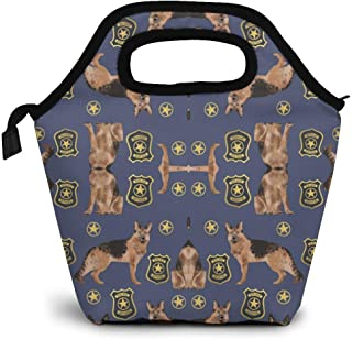 ZMSL Erman Shepherd Police Badge Fabric Dog K9 Unit FA Lunch Tote, OFEILY Lunch Boxes Lunch Bags with Fine Polyester FiberWaterproof Picnic Lunch Bag Mom Bag