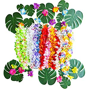 Tropical Party Decorations 110 pcs. Set Includes Artificial Palm Leaves, Leis and Hibiscus Flowers. Table Decor for Birthday, Wedding, BBQ, Office Party, Luau, Beach or Pool Parties!
