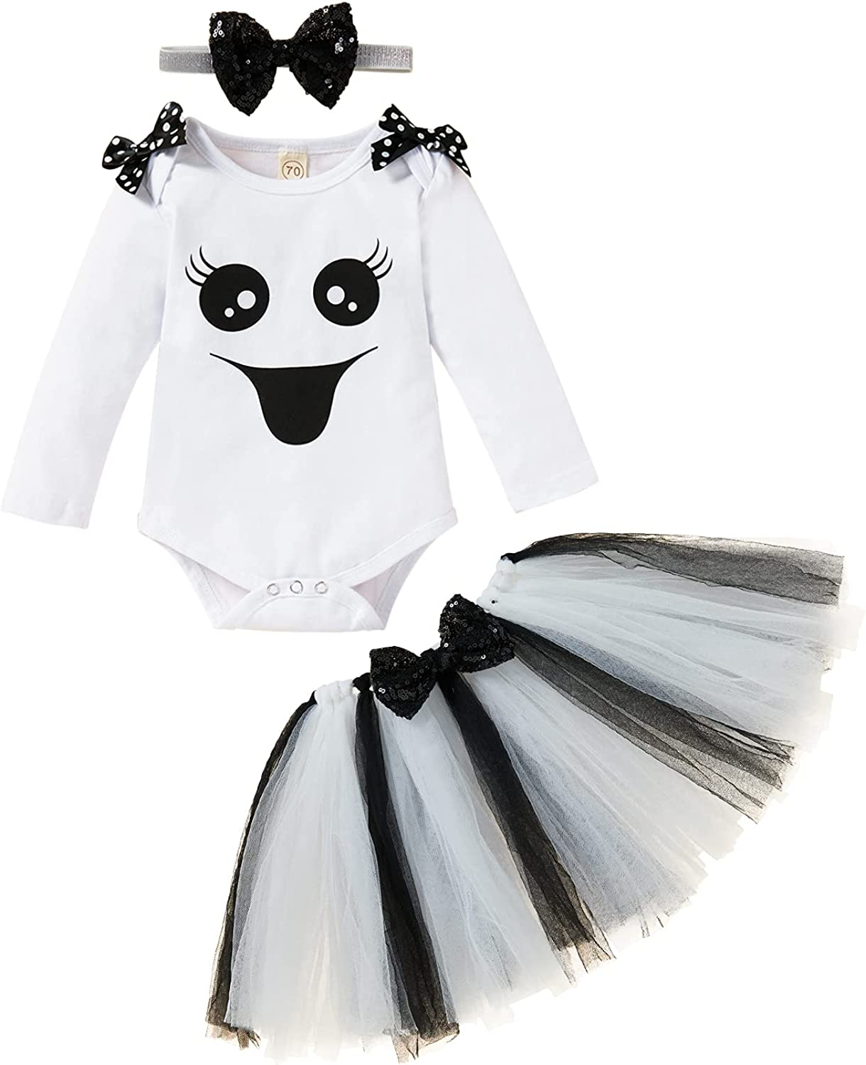 Baby Girls Halloween Skirts Set Long Sleeve Ghost Face Romper+Tutu Dress+Headband Outfits Clothes