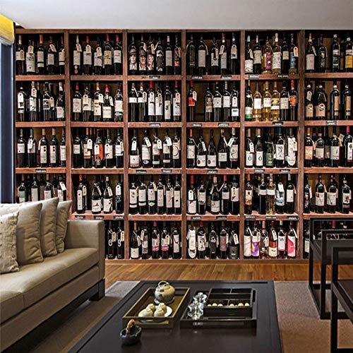 Tapete der europäischen Art-3D moderne Rotwein-Flaschen-hölzerner Weinregal-Foto-Wand-Wandgemälde Café-Bar-Restaurant-Hintergrund-Tapeten, 200 * 140