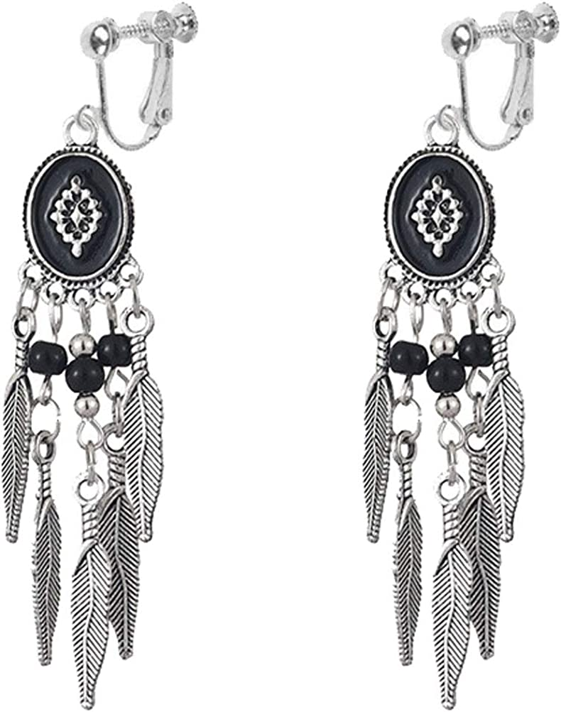 Classic Seed Beaded Clip on Earrings for Girl Women Bohemian Chic Leaf Chandelier Dangle Drop