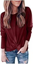 YOCheerful Solid Color Tops Women Fashion Twisted Knot Long-Sleeved Pullover Blouse Autumn Winter Round Collar Tops Blouse