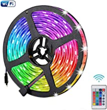 5 Meters Light Strip Smart Wifi Strips Lights String Lighting 5050 SMD Tape LED Strip Lamp Compatible with Alexa and Google Home for Kitchen Mirror Hotel Desktop PC TV (Multi-Color)