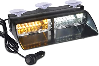 12V Law Enforcement Emergency Car Strobe Lights, Linkitom 16 LED Hazard Warning Beacon Lights for Vehicle Interior Roof/Dashboard/Visor/Front Windshield with Suction (Amber&White)