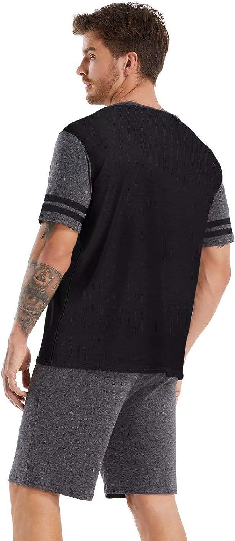 Hiistandd Herren Schlafanzug Pyjama Kurz Set Sleepwear Loungewear Nachtw/äsche Shirt Hose Kurze V-Ausschnitt 2-Teiler
