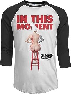 MarshallD Men's in This Moment Maria Brink Whore 3/4 Sleeve Raglan Baseball Tee Black