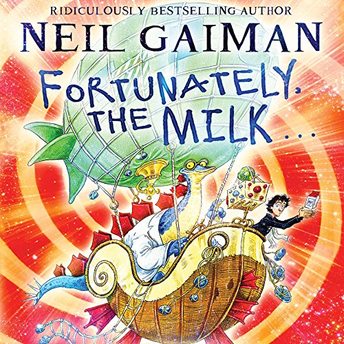 Fortunately, the Milk cover art. A flying ship, a dinosaur, and a boy whizz across a red and yellow swirling backdrop.