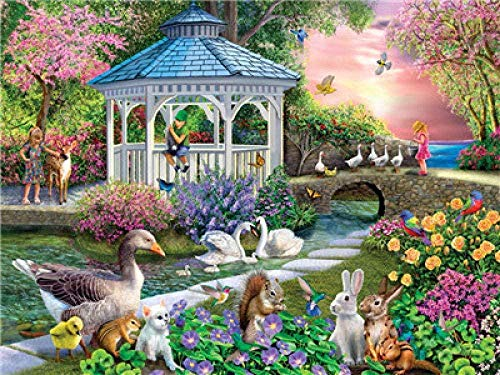 LSDEERE DIY Painting By Numbers Kit Garden Gazebo Hand Painted Oil Painting Children Adults Beginners For Canvas Oil Painting Set With Brush Home Decorating Gift 40x50cm