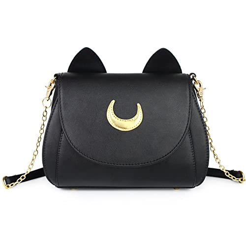 62aedede4bb3 Fantastic Zone Moon Luna Cat Purses Pu Leather Gothic Purse Cosplay Moon  Sailor Bag Handbags Shoulder