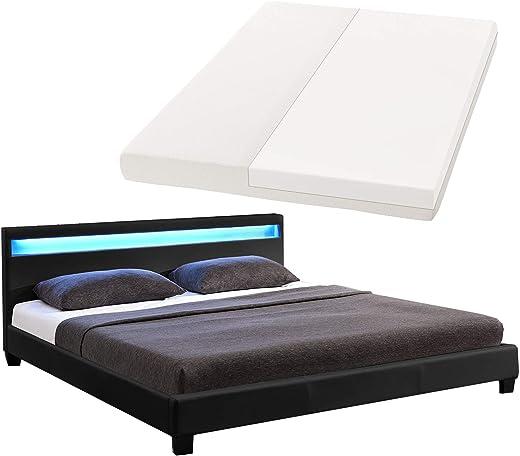 LED Polsterbett Paris 160 × 200 cm mit Matratze und Lattenrost – Kunstleder Bezug & Holz Gestell – schwarz – modern & stabil – Doppelbett Bett
