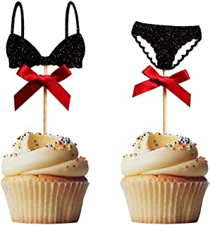 30PCS Black Lingerie Cupcake Toppers for Bachelorette Bridal Shower Party Cake Decoration Supplies