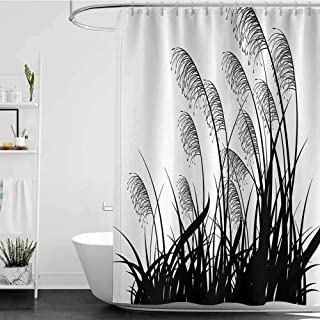 shower curtains for bathroom sets for kids House Decor,Silhouette of Bushes Wild Plants Wheat Field Grass with Twiggy Herbs Seasonal Picture,White Black W65