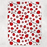 Personalized Name Soft Blanket Red Lady Ladybugs Cute Ladybird Baby Blanket for Girls Boys Minky Dot Blanket for Girls - Toddler Catch Blankets