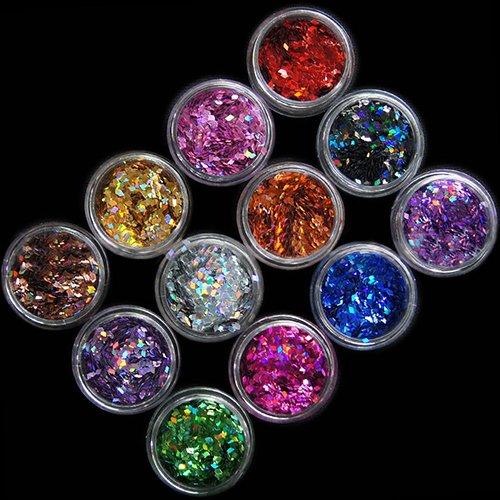 Esmalte y cuidado de uñas, 12 colores de uñas 3D con forma de rombo con purpurina, lentejuelas, decoración de uñas, 12 colores diferentes en 1 juego, fácil de usar, efecto metálico brillante