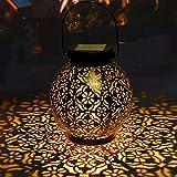 Lanterne Solaire Jardin GolWof LED Lanterne Solaire Extérieure Decorative Étanche IP44 Éclairage Solaire Extérieur Lampe Lanterne Sans fil Rechargeable pour Chambre Patio Garden Fête Halloween Noël