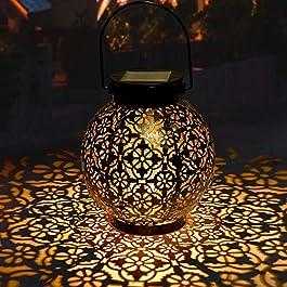 Lanterne Solaire Jardin GolWof LED Lanterne Solaire Extérieure Decorative Étanche IP44 Éclairage Solaire Extérieur Lampe…
