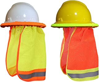 2pcs Summer Sun Shade Hard Hat Mesh Neck Shield with Safety High Visibility Reflective Stripe, Yellow, Orange(Hard Hat NOT Included)