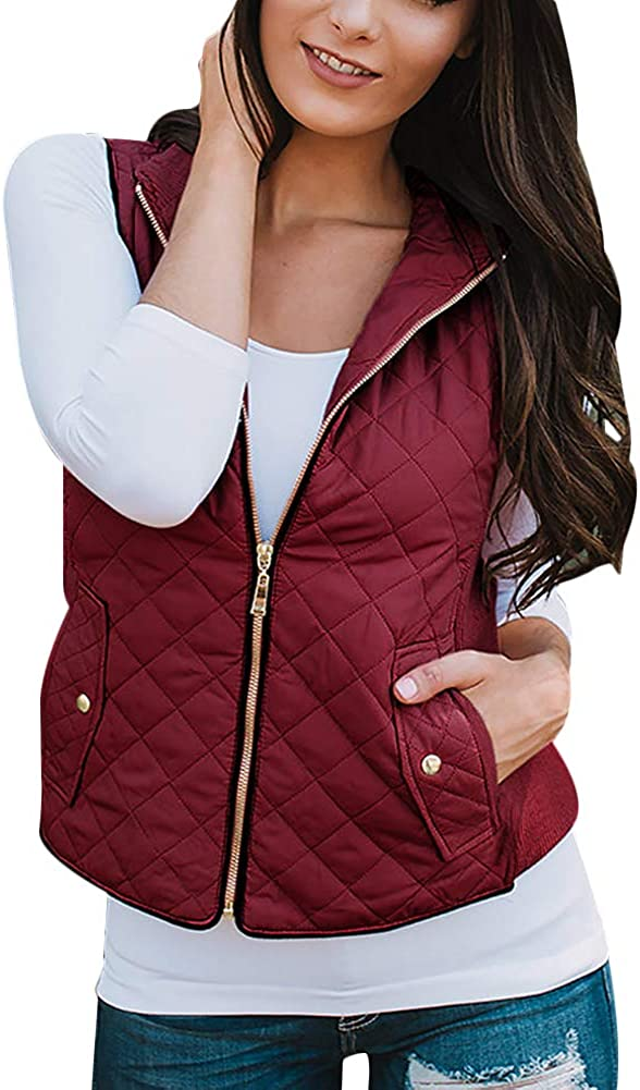 LoVnely Women's Quilted Padded Vest Stand Collar Zipper Up Lightweight Jacket Vest