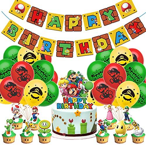 Tomicy Super Mario Party Supplies Super Mario Globos de Látex Super Mario Cumpleaños Pancartas Decoración para Fiestas Adorno de Torta para Niños Ducha de Bebé Fiesta de Cumpleaños