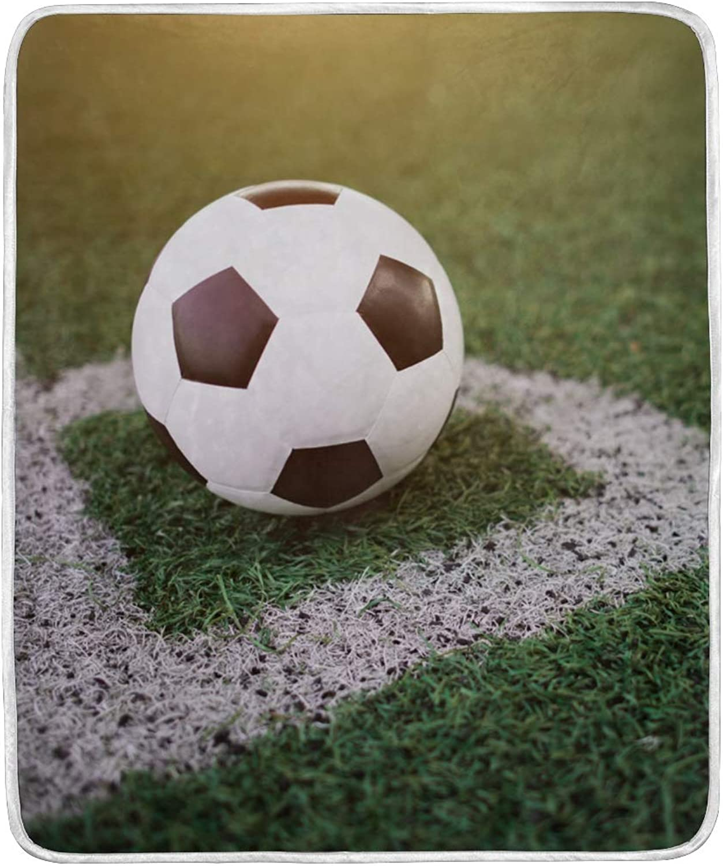 VIMMUCIR Home Decor Soccer Ball at Stadium Blanket Soft Warm Throw Blankets for Kids Adults