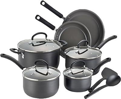 T-fal Cookware Set, 12-Piece, Black