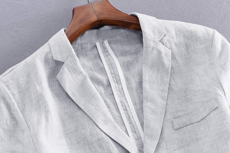 Fueri Suit Jacket Linen Mens Jacket Summer Lightweight Jacket Slim Fit Two Buttons Men Sporty Leisure Blazer