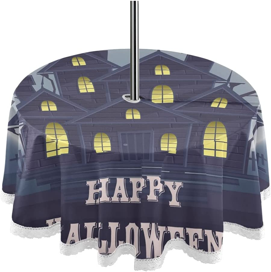 Halloween House Lights 60inch Round Tablecloth with Hol Umbrella Brand Cheap 2021 autumn and winter new Sale Venue