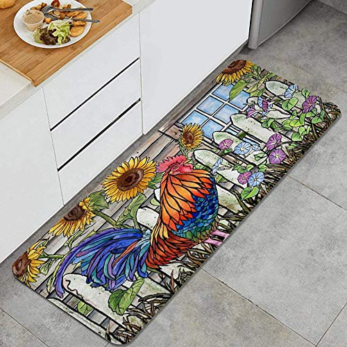 Inbetweening Rooster Picture Village Farm Chicken and Sunflowers American Animals Anti Fatigue Kitchen Mat Comfort Floor Mats Non-Slip Oil Stain Resistant Easy to Clean Kitchen Rug