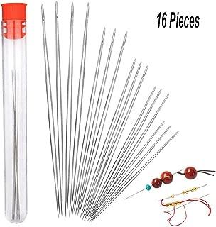 16 Pieces Beading Needles, Seed Beads Needles Beading Embroidery Needles Big Eye Collapsible Beading Needles Set for Jewelry Making with Needle Bottle (5 Sizes)