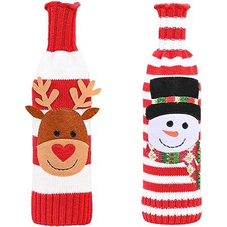 Hemoton 2 Pezzi Maglione Natalizio Copri Bottiglia di Vino Fatti a Mano Natale Sacchetti di Bottiglia di Vino Rosso con Renna Pupazzo di Neve Regalo per Natale Capodanno Decorazione