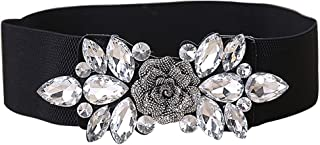 E-Clover Fashion Floral Rhinestone Buckle Women's Elastic Waist Cinch Belt for Dress