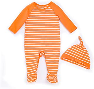 LOSORN ZPY Baby Girl Stripe Pajamas Footed Sleeper Long Sleeve Cotton  Romper with Cap (Newborn 0267cd84b
