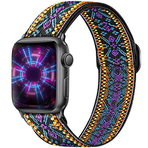 Ouwegaga Adjustable Elastic Bands Compatible for Apple Watch Band 40mm 38mm iWatch SE and Series 6 5 4 3 2 1 Fashion Cute Soft Stretchy Loop Woven Fabric Wristband for Women Men Purple Aztec Style