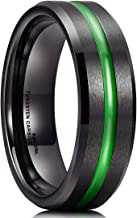 King Will Loop Mens 7mm Black Brushed Grooved Green Thin Line Tungsten Carbide Wedding Ring Beveled Edge