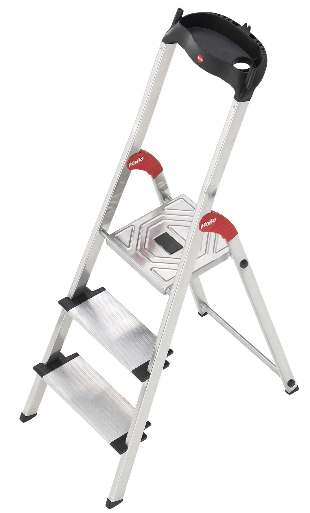 Hailo 8813-001 Escalera 3 peldaños Extra Anchos de 13 cm, Aluminio, Negro: Amazon.es: Bricolaje y herramientas