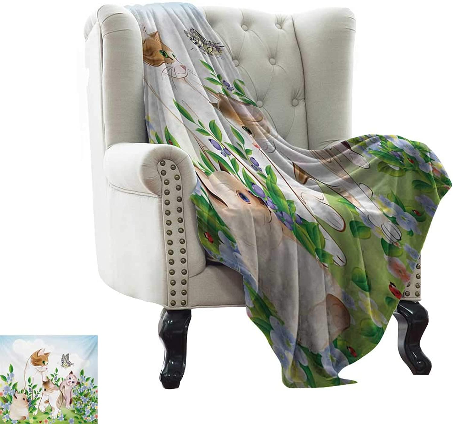 LsWOW Flannel Throw Blanket Cat,Cute Kittens in Flower Meadow Field Happy Cats Family with Butterfly Kids Cartoon Print,Multi for Bed & Couch Sofa Easy Care 60 x62