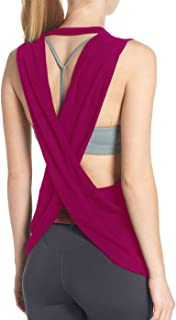 Fihapyli Women's Sleeveless Sexy Crossback Active Sports Workout Tank Tops