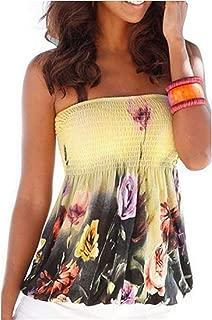 AYIYO Strapless Tops for Women-Sexy Floral Print Tube Bra Style Elastic Tee Shirt