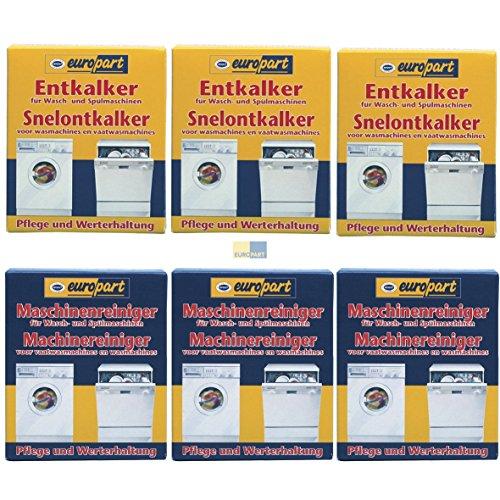 SET 2x3 ORIGINAL Europart 811714 10007690 Pflege Entkalker Schnellentkalker UND 811713 10007689 Reiniger Kalk Kalkablagerung Waschmaschine Spülmaschine Geschirrspüler zur Pflege und Werterhaltung