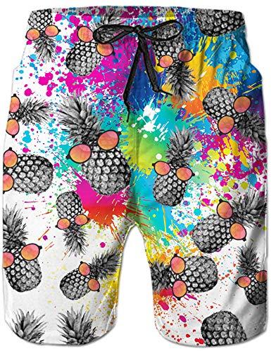 Loveternal Männer Boardshorts Schnell Trocknend Outdoor Shorts Drucken Ananas wasserdichte Sporthose Badeanzug Badehose L
