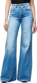 Pantalones vaqueros acampanados de talle alto de pierna ancha de las mujeres Retro Bootcut Raw Hem Denim Pants