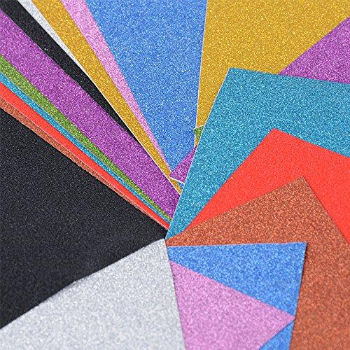 20 Blatt Glitzer Papier selbstklebend Glitter Karte Bastelpapier Papier Glitzer glänzend Glitterkarton A4 10 Farben für DIY Craft Album Handwerk Scrapbooking