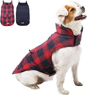 Kuoser British Style Plaid Dog Winter Coat, Windproof Water Repellent Cozy Cold Weather Dog Coat Fleece Lining Dog Apparel Dog Jacket Dog Vest for Small Medium and Large Dogs with Pocket XS-3XL