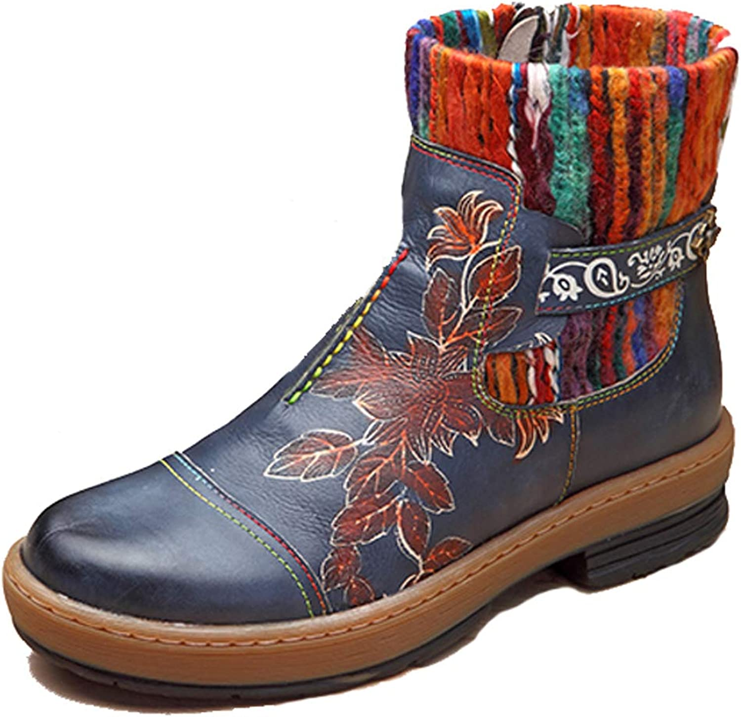 Honeystore Women's shoes Round Toe Flat Boots Zipper Retro Carving Flower Pattern Leather Booties