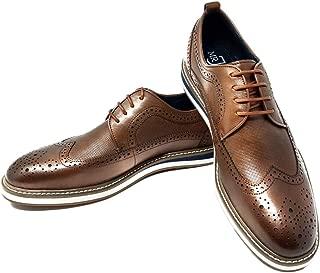 Mr. Jog Men's Premium Leather Oxford Dress Shoe  Comfortable Insole   Wingtip   Lace Up   Rubber Sole