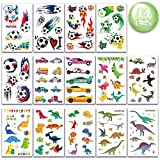 Tattoo Kinder Set 250 Stück Fußball Dinosaurier und Fahrzeuge Tattoos Kinder, Kinder Tattoo...